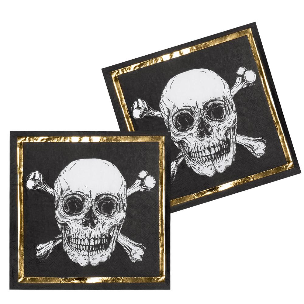 12st Servetten Piraten Zwart/Goud 33x33cm