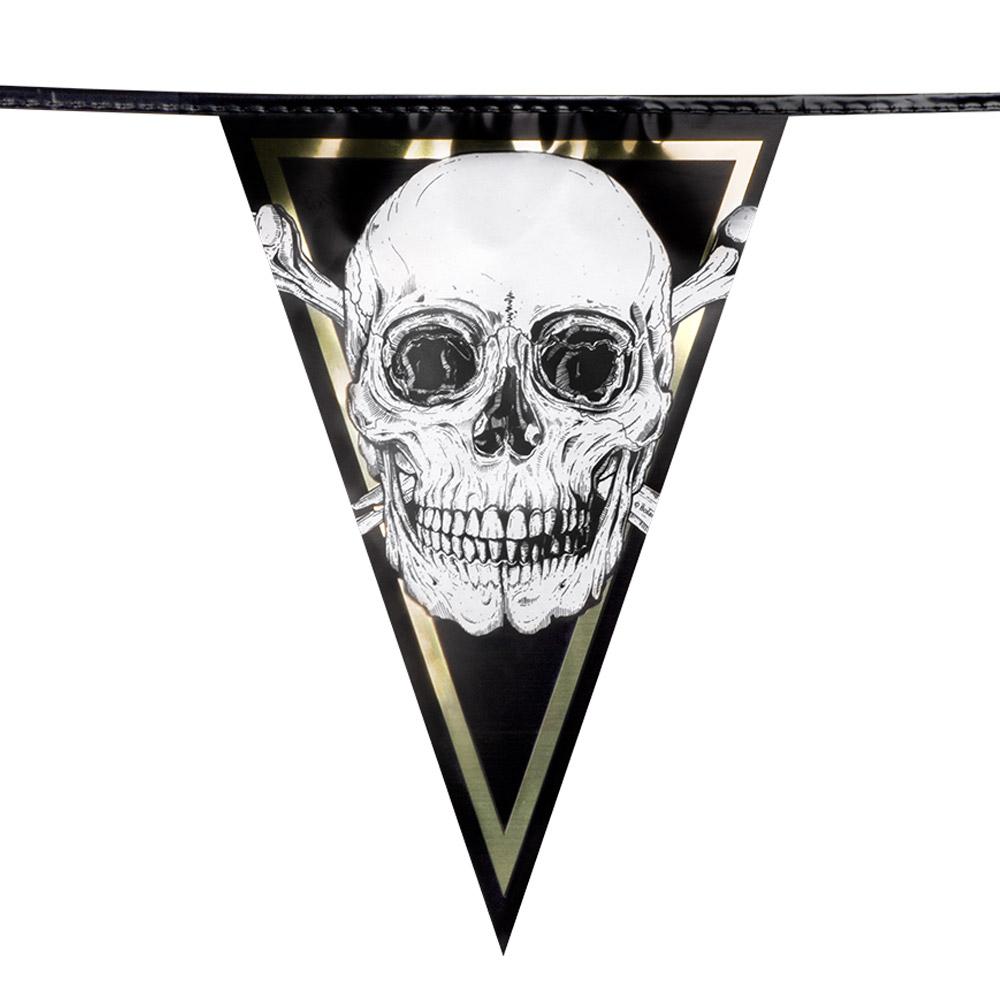4m Vlaggenlijn Piraten Zwart/Goud