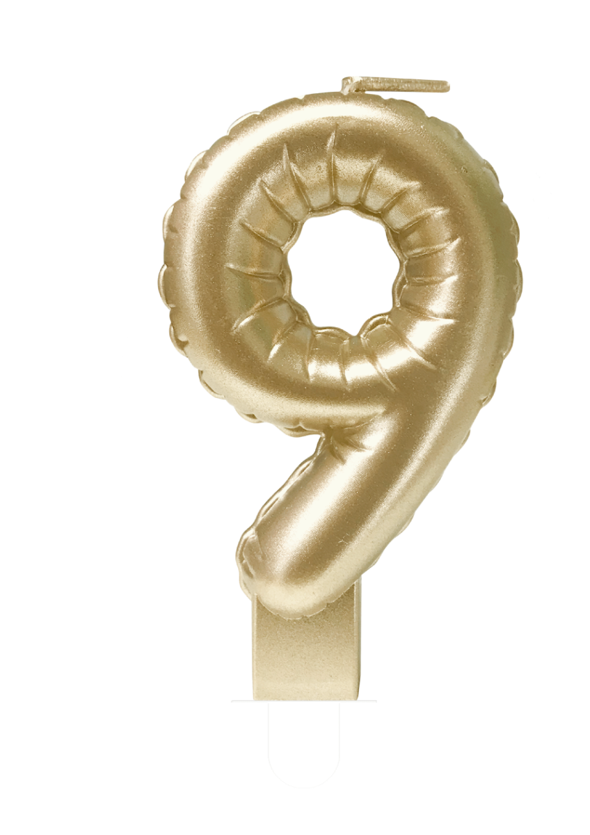 Kaarsje Folieballon Goud Nr.9