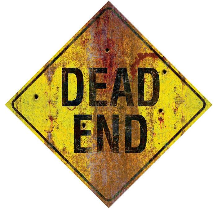"""Kartonnen Decoratie Bord """"Dead End"""" 24cm"""