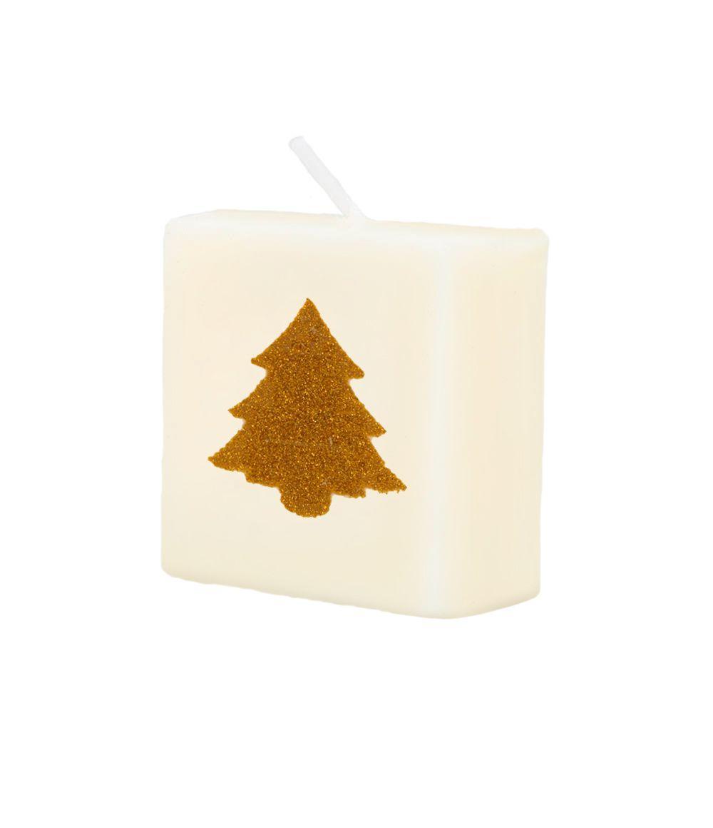 Letterkaarsje Symbool-Kerstboom Goud