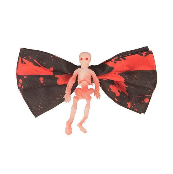 Vlinderstrik Halloween Zwart met Skelet